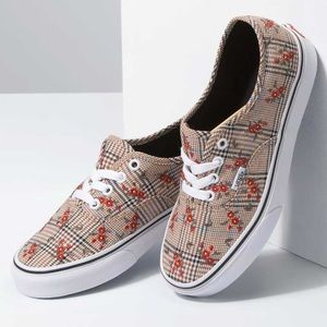 NEW Vans Authentic Glen Plaid Floral Embroidered